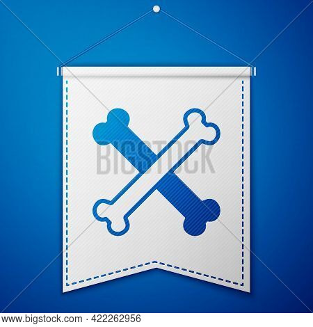 Blue Crossed Bones Icon Isolated On Blue Background. Pets Food Symbol. Happy Halloween Party. White