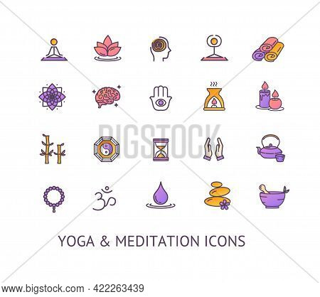 Yoga Meditation Relaxation Sign Color Thin Line Icon Set. Vector