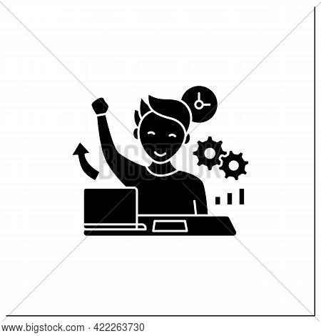 Overcome Procrastination Glyph Icon. Solve Work Problems. Fight Depression. Happy Person. Overload C