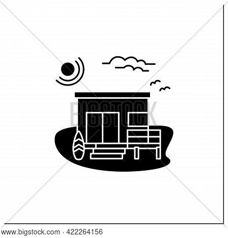 Beach Hut Glyph Icon. Wooden Comfortable House On Beach. Surfboards. Seascape. Rest Concept.filled F