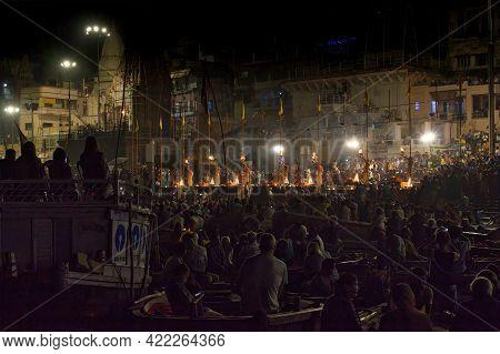 Varanasi, India - November 01,2016: Wide Angle Shot Of Ganga Aarti Ceremony Rituals Performed By Hin
