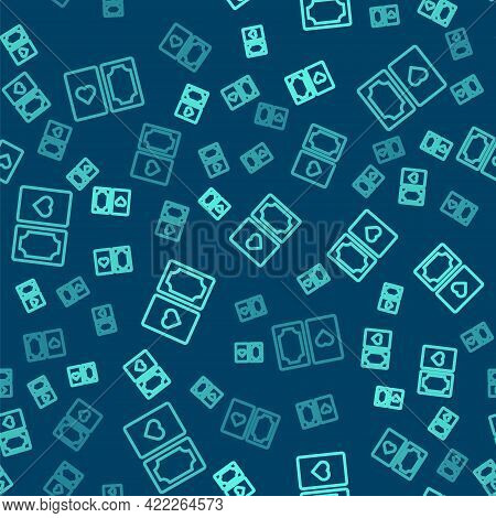 Green Line Deck Of Playing Cards Icon Isolated Seamless Pattern On Blue Background. Casino Gambling.