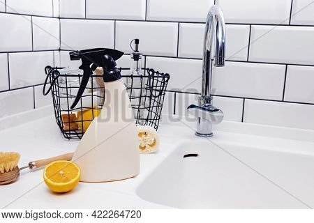 Reusable Spray Bottle And Eco Natural Items For Kitchen Cleaning