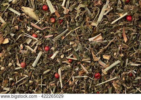 Mixture of healthy herbal tea close up full frame as background