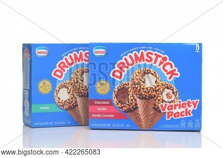 IRVINE, CALIFORNIA - 28 MAY 2021: Two 8 pack boxes of Nestle Drumstick Ice Cream treats, Original Vanilla and Variety Pack.