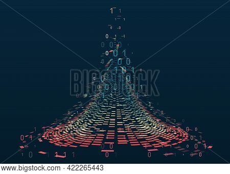 Wide Big Data Visualization. Abstract Background With Lines Array And Binary Code. Connection Struct