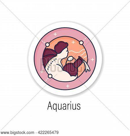 Aquarius Sticker Icon.eleventh Fire Sign In Zodiac.water Bearer Birth Symbol.mystic Horoscope Sign B