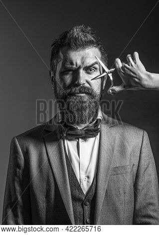 Handsome Bearded. Barbershop. Sexy Men, Macho. Long Beard. Vintage Barbershop, Shaving. Black And Wh