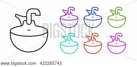 Black Line Washbasin Icon Isolated On White Background. Barber Washing Chair With Washbasin. Hair Wa