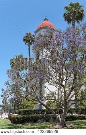 SAN JUAN CAPISTRANO, CALIFORNIA - 27 MAY 2021: Mission Basilica. The parish church is located just northwest of Mission San Juan Capistrano.
