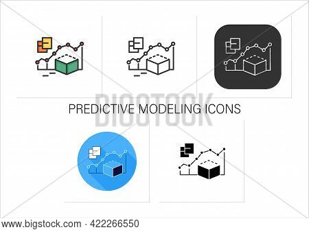 Predictive Modeling Icons Set.process That Uses Data And Statistics To Predict Outcomes With Data Mo