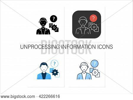 Unprocessing Information Icons Set. Method Lack For Processing Different Information Kinds.collectio