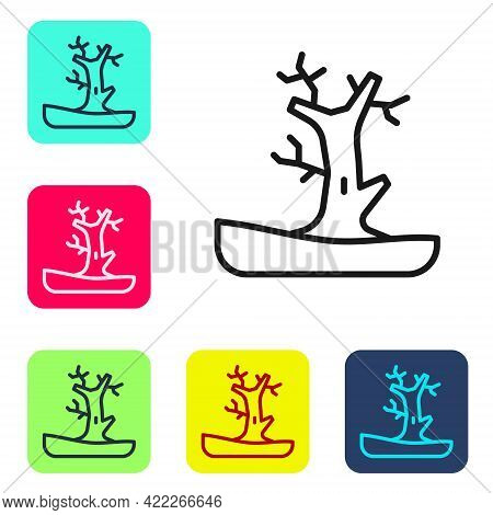 Black Line Bare Tree Icon Isolated On White Background. Set Icons In Color Square Buttons. Vector