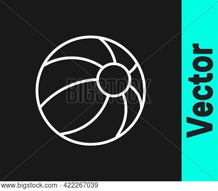 White Line Beach Ball Icon Isolated On Black Background. Children Toy. Vector