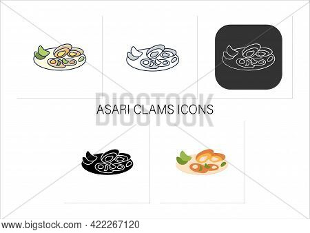 Asari Clams Icons Set.fried In Butter Clams On Plate. Traditional Dish.spring Japanese Food.collecti