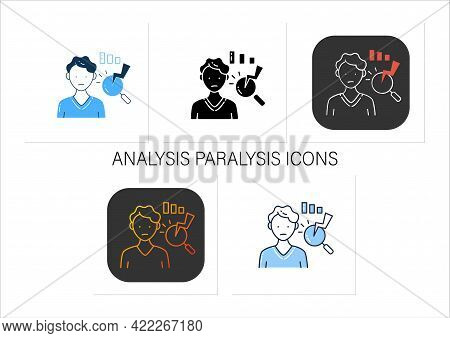 Analysis Paralysis Icons Set.excessive Thinking Of Information Can Lead To Its Paralysis.collection