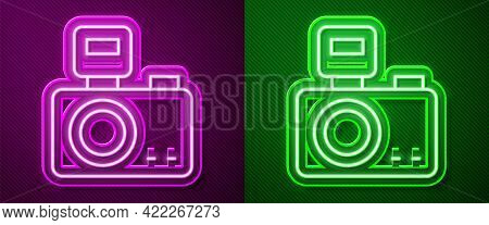 Glowing Neon Line Photo Camera With Lighting Flash Icon Isolated On Purple And Green Background. Fot