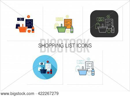 Shopping List Icons Set.make Shopping List.planning Buying. Needed Products. Thoughtful Spending Mon