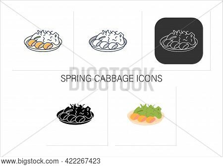 Spring Cabbage Icons Set. Garnish To Meat On Plate.traditional Dish. Japanese Food. Collection Of Ic