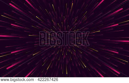Speed Lights Abstract Background Travel Through Time And Space. Fast Movement Hyper Speed Backdrop.