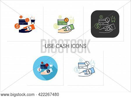 Use Cash Icons Set. Pay Purchases In Cash. Hand Holds Money. Dont Use Credit Card.mindful Spending C