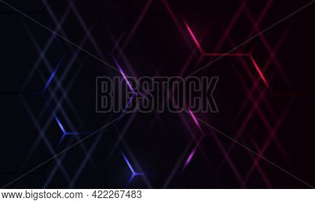 Dark Hexagonal Gaming Abstract Vector Background With Blue And Pink Colored Bright Flashes. Futurist