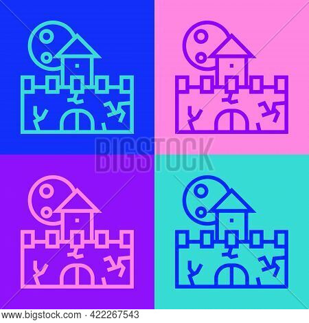 Pop Art Line Castle Icon Isolated On Color Background. Medieval Fortress With A Tower. Protection Fr