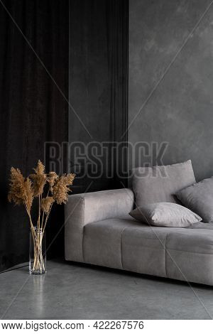 Dry Plants In Vase Standing Near Grey Couch. Vertical View Of Comfortable Ergonomic Couch And Natura