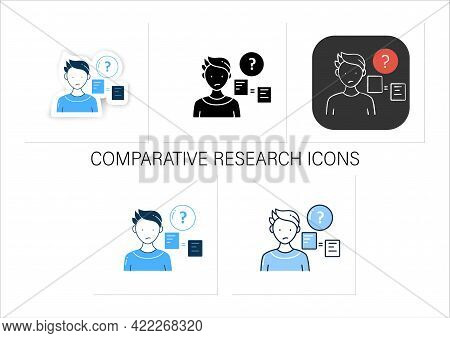 Comparative Research Method Icons Set.lack Of Method For Comparing Information.collection Icons In L