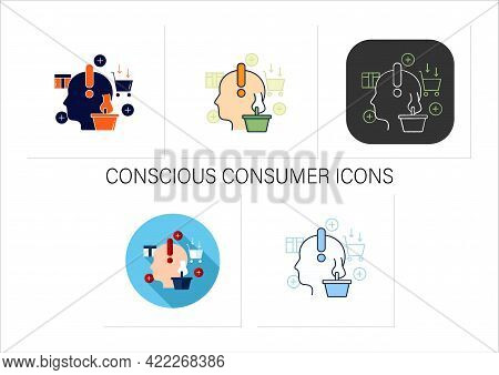 Conscious Consumer Icons Set. Thoughtful Shopping. Thoughtful Spending Money. Buying Necessary Thing