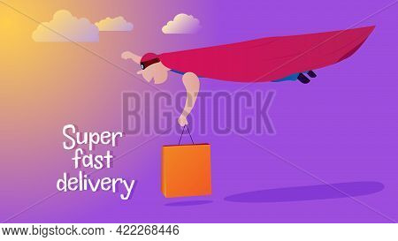 Super Man Delivers A Package, Banner. Super Fast Delivery, Concept. Super Man Flying Through The Sky