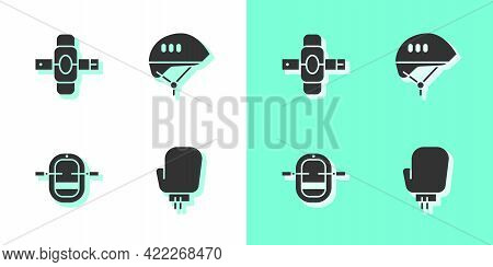 Set Boxing Glove, Knee Pads, Rafting Boat And Bicycle Helmet Icon. Vector