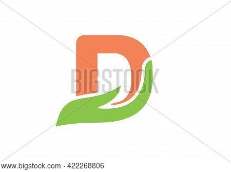 D Letter Logo With Hand Concept. D Logo Design