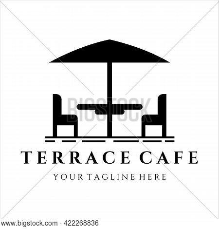 Terrace Cafe Logo Vintage Vector Illustration Template Design. Street Food Restaurant Coffee Shop Fo