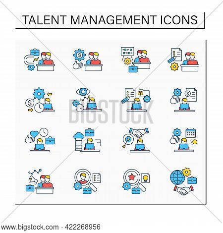 Talent Management Color Icons Set.attracting Employees. Recruitment. Talent Development.business Pra