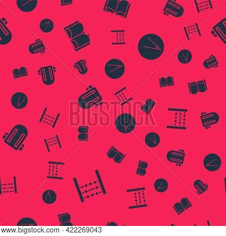 Set Abacus, Open Book, School Backpack And Acute Angle On Seamless Pattern. Vector