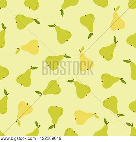Seamless Background Of Pear Fruit, Pear Flat Style, Pattern With Cartoon Green Pear, Vector Illustra