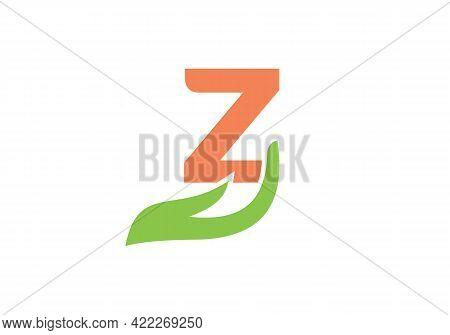 Z Letter Logo With Hand Concept. Z Logo Design