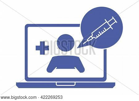 Laptop Screen With Therapist On Chat. Online Consultation With Doctor. Ask A Doctor. Online Medical