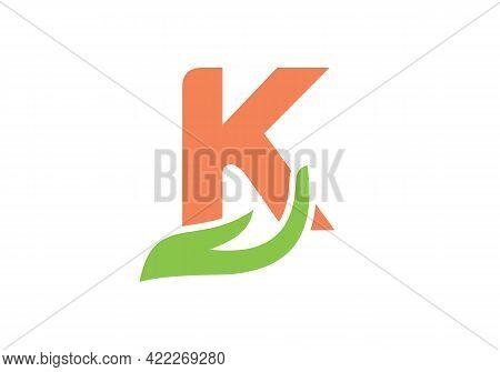 K Letter Logo With Hand Concept. K Logo Design