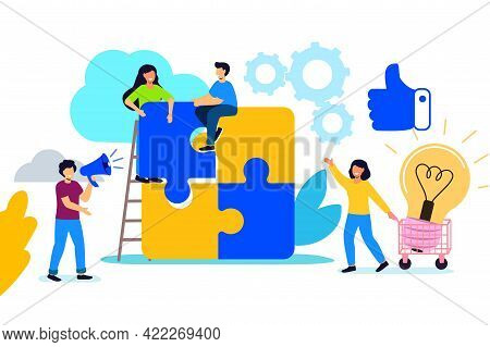 Teamwork Business Concept Tiny People Connecting Puzzle Elements Team Metaphor Symbol Of Teamwork, C