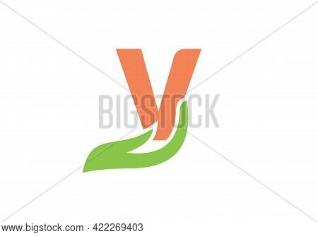 V Letter Logo With Hand Concept. V Logo Design.