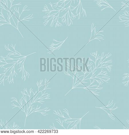 Seamless Pattern With Sprigs Of Dill. White Twigs On Blue Background. Simple Botanical Vector Illust