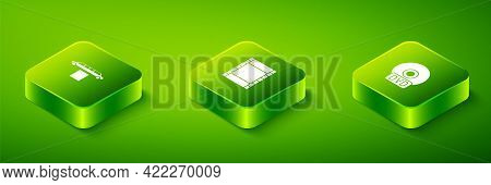 Set Isometric Play Video, Cd Or Dvd Disk And Limousine Car And Carpet Icon. Vector