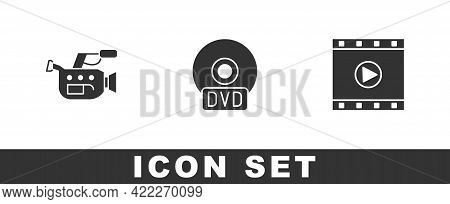 Set Cinema Camera, Cd Or Dvd Disk And Play Video Icon. Vector