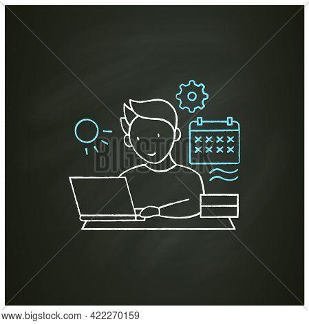 Workaholic Chalk Icon.work Through Vocation, Overtime. Work Despite Calendar Days Off. Man At Laptop