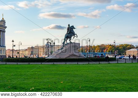 Monument To Peter The Great (first) On Senate Square, Saint Petersburg, Russia - August 2020