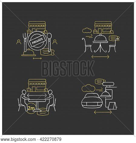 Restaurant New Normal Chalk Icons Set.private Dining, Outdoor Dining, Social Distancing, Drive In Di