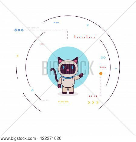 Smiling Robot Cat Say Hello. Happy Bot Presenting Or Greeting. Siamese Robo Cat With Blue Eyes, Arti