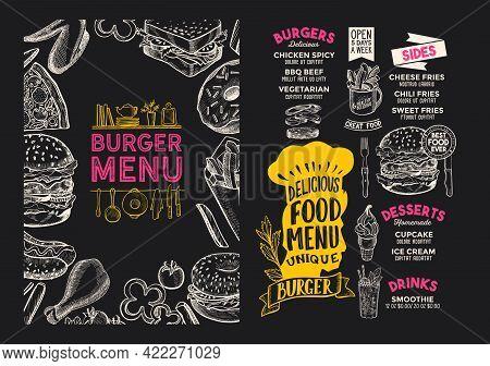 Burger Menu Template For Restaurant On A Blackboard Background Vector Illustration Brochure For Food